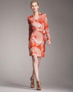 Diane Von Furstenberg Jeanne Red White Sun Dial Silk Jersey Wrap Dress