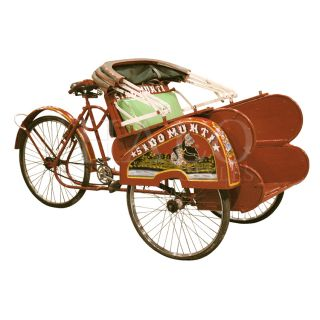 Becak Rickshaw Tricycle Bicycle Antique Red Cab Pedicab Taxi Bike Java