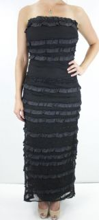 Gorgeous Bari Jay Black Sparkley Ruffle Strapless Mermaid Dress