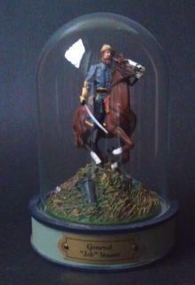 Franklin Mint General Jeb Stuart Civil War Figurine with Glass Dome