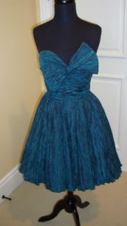 Guar Auth Jenny Packham Teal Ruched Strapless Dress 4