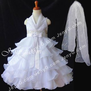 S11 Flower Girl Bridesmaid Dress Gown White 2 10 Years
