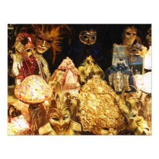 Venetian Carnival Masks   Venice, Italy Invitation
