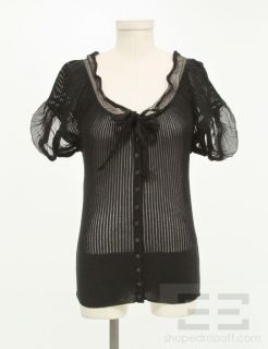 Jean Paul Gaultier Black Ribbed Chiffon Trim Cardigan