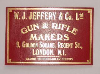 Jeffery Co Gun Rifle Makers Original Shotgun Case Label 9 Golden S