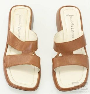 Jean Michel Cazabat Brown Leather Top Stitched Slide Sandals Size 41