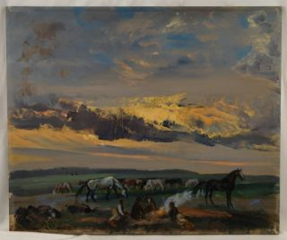 Adolf J Jelinek Alex Western Scene Horses Cowboys Illuminated Campfire