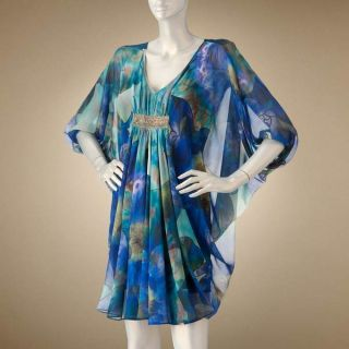 BEAUTIFUL CHIC JENNIFER LOPEZ J LO FLORAL CHIFFON CAFTAN DRESS SIZE XL