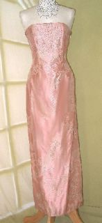 Jessica McClintock Peach Tapestry Rose Dress Gown Size 3