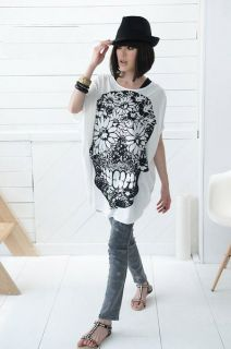 T960 Funky Floral Skull Icon Top T Shirt White Black