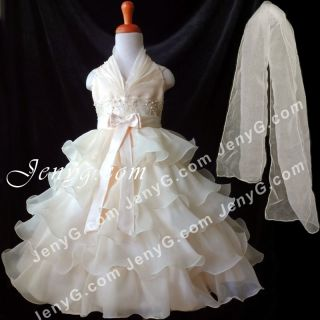 SB01 Flower Girl Pageant Formal Communions Gowns Dress Champagne 2 10