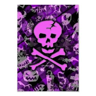 Horror Punk, pink skull & crossbones digital collage.
