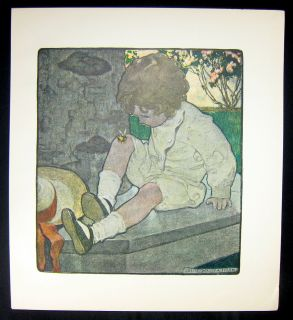 Jessie Willcox Smith Antique Color Print A Bee on My Knee 1903 Child