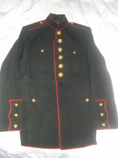 USMC MARINE DRESS BLUE MENS TUNIC COAT SIZE 37R