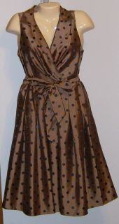 Jessica Howard Dress 8 Black Brown Polka Dot New Tags