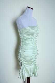 Jessica McClintock Mermaid Satin Strapless Tube Prom Dress Lime Green