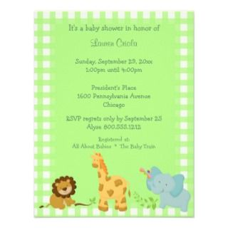 Green Plaid Baby Animals Baby Shower Invitation