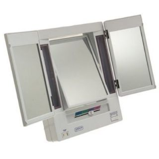 Jerdon 5X Magnification Tri Fold Lighted Makeup Vanity Mirror JGL9W