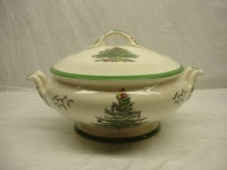 Spode China England Christmas Tree Covered Vegetable Bowl w Lid Large