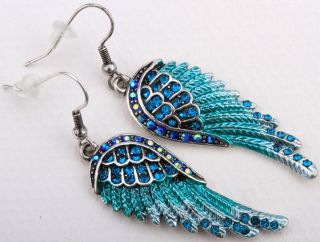 Blue Crystal Angel Wing Earrings EC23 Matching Ring Pin Pendant