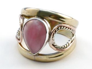 Jewelry Store Pink Rhodocrosite 925 Sterling Silver Ring Size 9