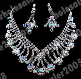 Wholesale 12x Bridal Prom Jewelry Set 12style Crystal Necklace