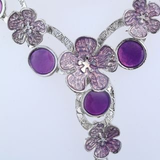 Free Jewelry 1S Noble Purple Bloomming Flower Necklaces Earrings Sets