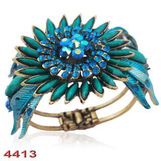 Fashion Jewelry Sunflower Bracelet Alloy Inlay Rhinestone Plating