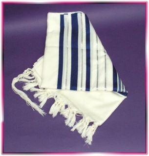 Jewish Blue Silver Tallit Wool Talit Prayer Shawl s 60