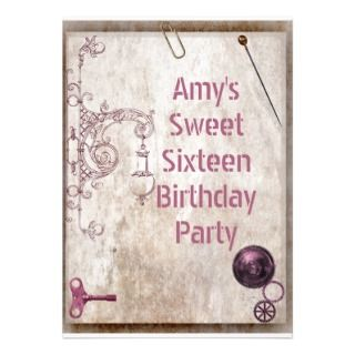 Sweet 16 party, Vintage steampunk mecanic grunge Personalized
