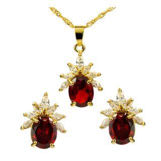 Bin Jewelry Set Jewellery Oval Red Ruby Garnet Pendant Earrings