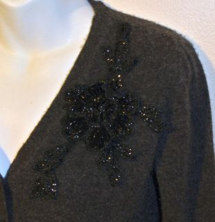 BLUMARINE Charcoal Gray Cashmere Beaded Flower Applique Cardigan