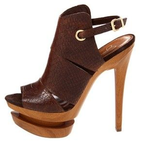 Womens Jessica Simpson Cat Platform Stiletto Sandals Heels Brown King