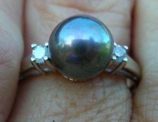 Black 7 75 mm FW Cultured Pearl Diamond 14kt WG Ring 6