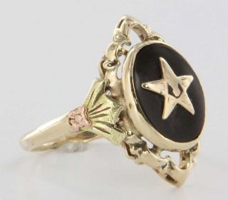 Masonic Eastern Star Yellow Rose Gold Ring Fraternal Jewelry Sz 7 25