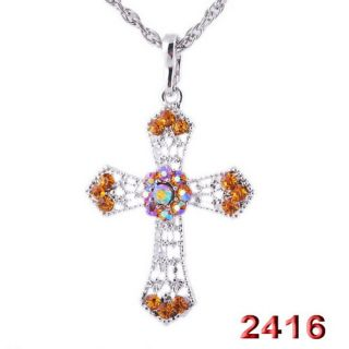 39MM Flower Focal AB Rhinestone Crystal Silver Color Pendant Necklaces