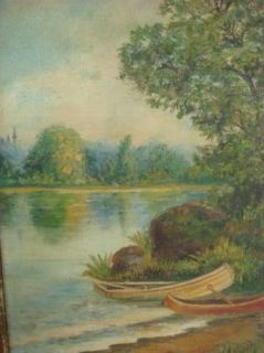 Jerome Antique Landscape Oil Painting Lake Boats