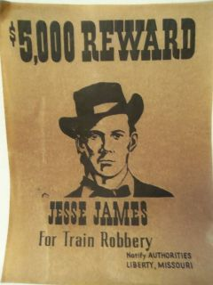 WANTED Poster for Jesse James for train robbery Notify Liberty