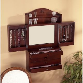 Wall Mount Jewelry Box Armoire Cabinet Organizer Ring Necklace Storage