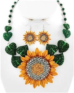 Sunflower Charm Earring Necklace Set Fashion Costume Jewelry