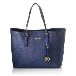Michael Michael Kors Jet Set Medium Travel Tote Saffiano Navy Leather