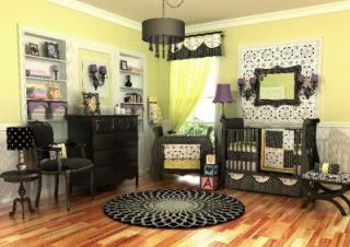 Elegant 10pc Black White Yellow Girl Crib Nursery Bedding Set Discount