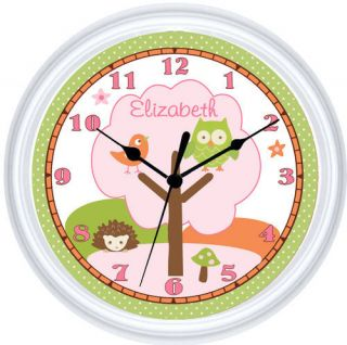 Girls Personalized Love and Nature Pink Owl Bird Clock