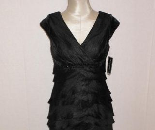 Jessica Howard Black Hammered Satin Beaded Tiered Cocktail Dress 12P