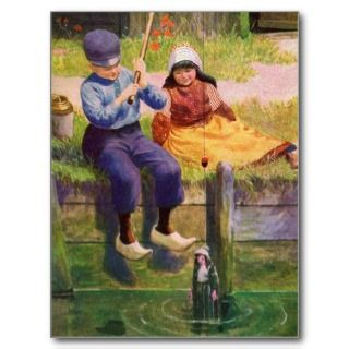Vintage   Dutch Children Fishing For Dolls Postcards