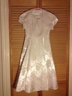 Satin Jessica McClintock Girls Vtg Cream English Rose Party Dress