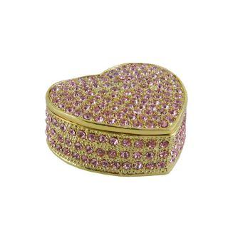 Bedazzled Heart Trinket Jewelry Box w Pink Swarovski Crystals
