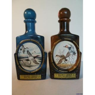 Two Duck Jim Beam Bottles James Lockhart Artist Brown Blue Decanters
