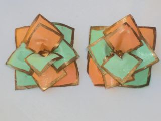 Huge Vintage Green Orange Paper Mache Flower Earrings Pierced