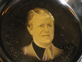 Jimmy Carter RARE Sterling Silver Ed Franklin Mint Plate w 24KT Gold